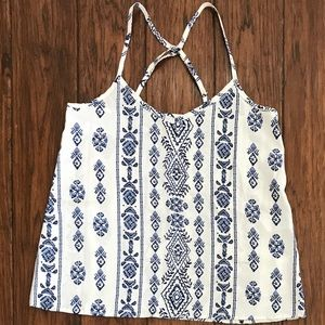 Navy and white tribal pattern tank top